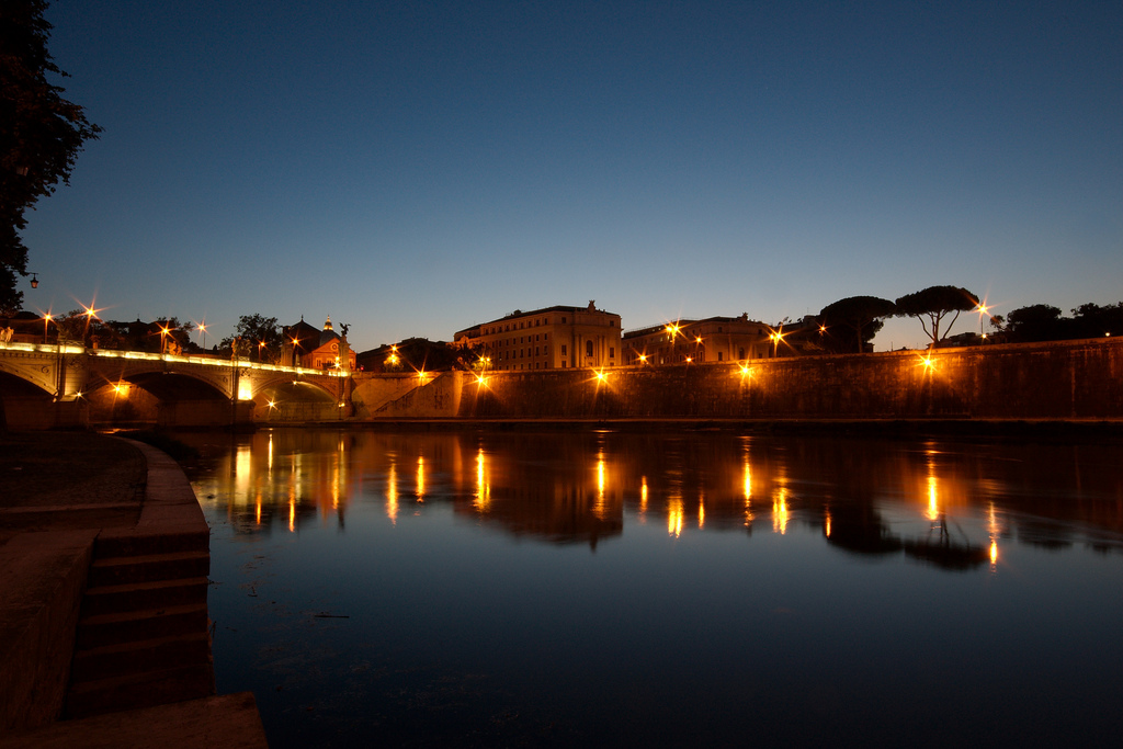 Tiber River by night, Rome