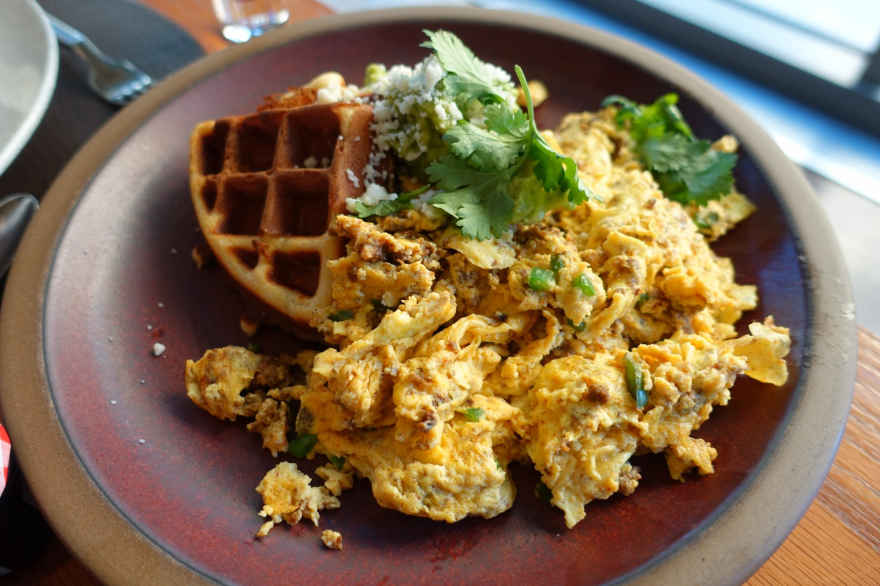 Johnnycakes Waffles and Chorizo Scrambled Eggs, Quattro