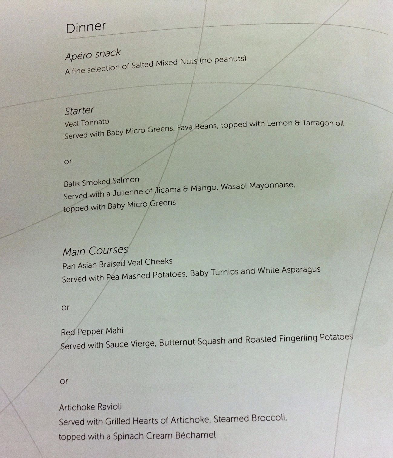 Brussels Airlines Business Class Menu, JFK-BRU