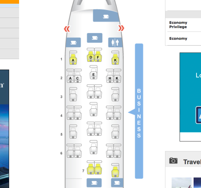Brussels Airlines Business Class Seat Map