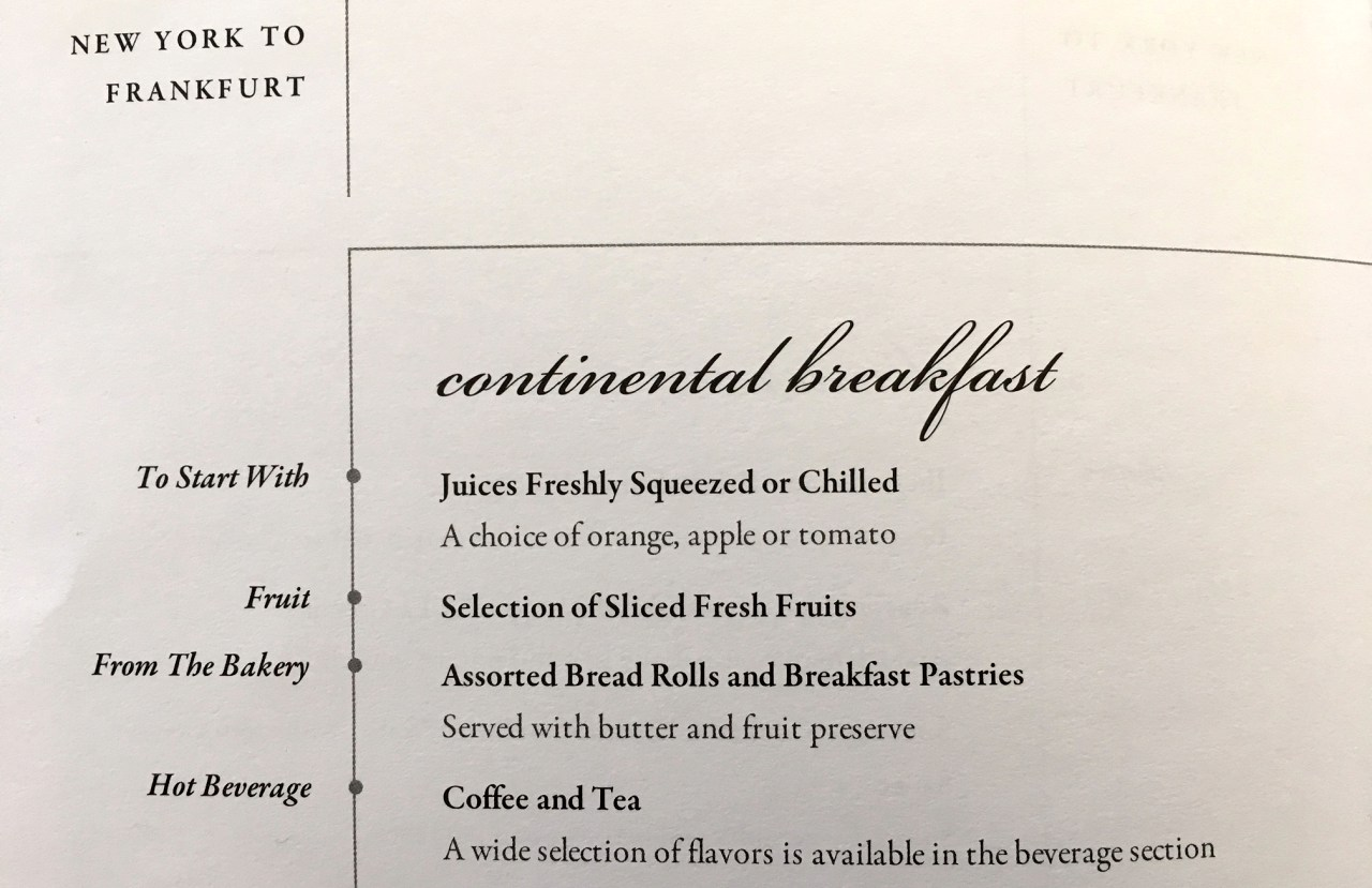 Singapore Business Class Breakfast Menu JFK-FRA