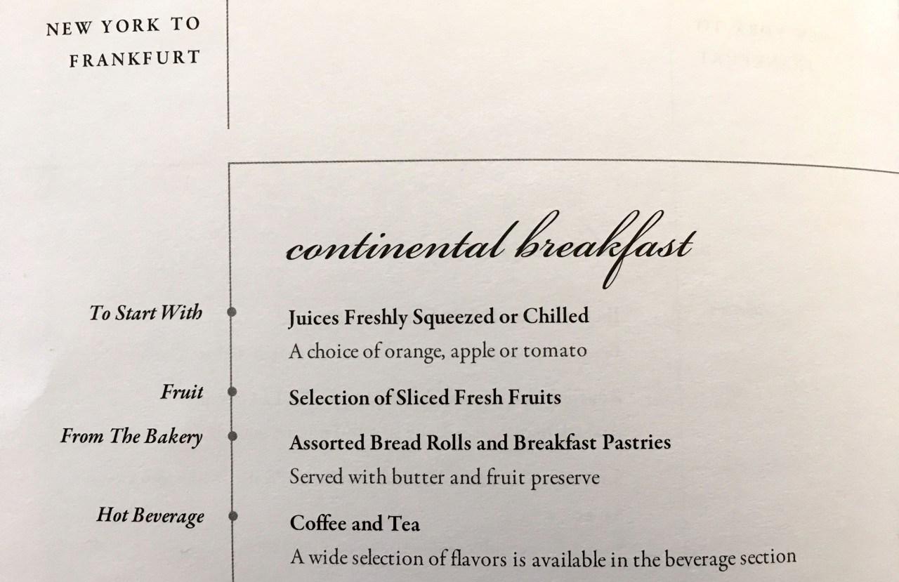 Singapore Business Class Breakfast Menu JFK-FRA