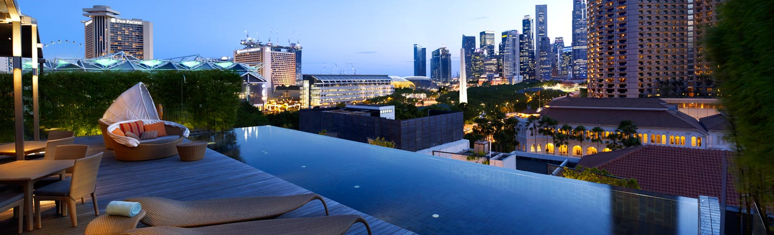 View from the Infinity pool at the Naumi Hotel, Singapore