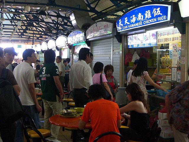A line at the famous Tian Tian Stall chicken rice stall, Singapore