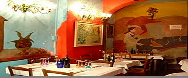Colorful murals at Il Garga Trattoria, Florence