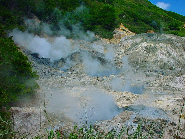 Steam from volcano, St. Lucia with kids