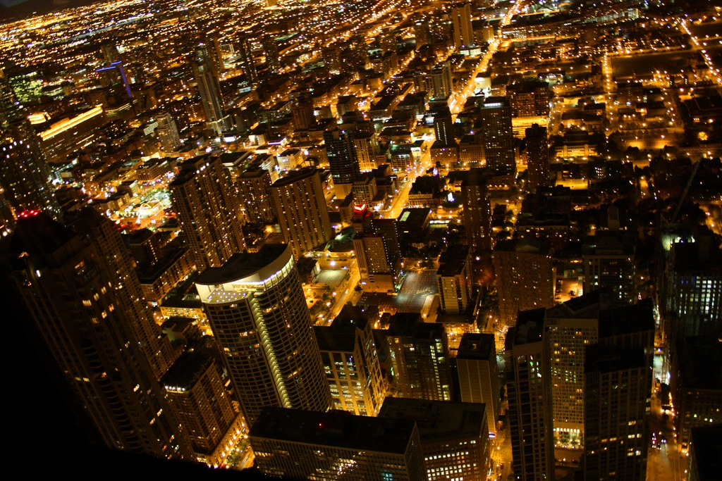 Chicago city lights from the Signature Lounge