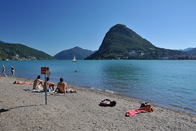 Swimming and sunbathing in Lugano, Switzerland