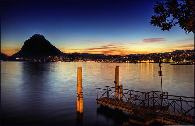 Dusk falls on Lake Lugano