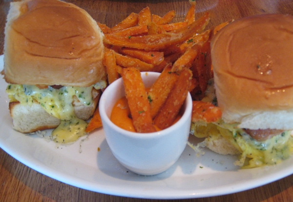 Bacon-egg-cheese sliders with sweet potato fries at Traif, NYC