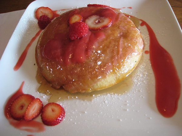 Baked pancake with strawberries, Traif NYC