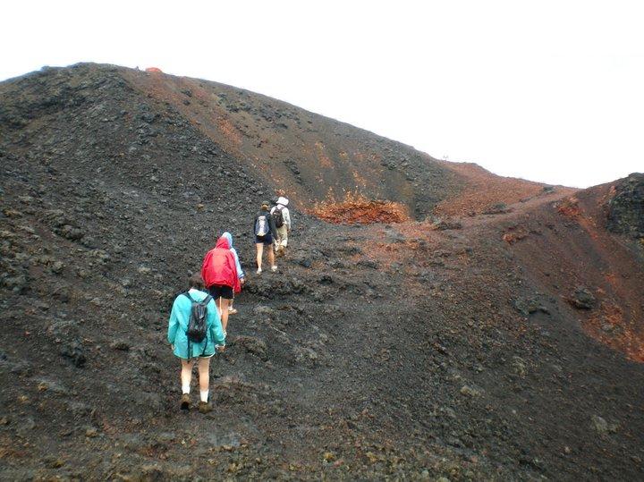 Hiking a volcano, Galapagos