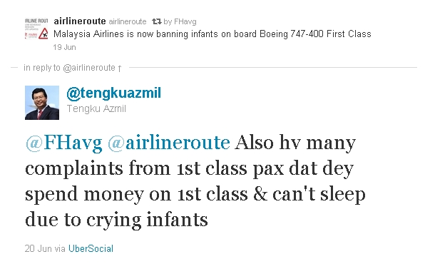 Malaysia Airlines CEO defends infant ban on Twitter