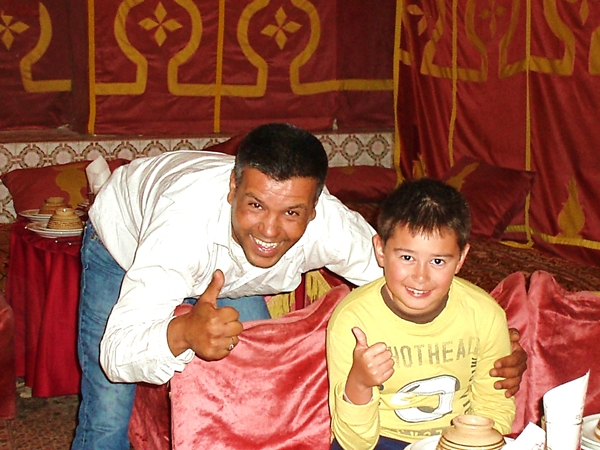 Inside a caidal tent at Chez Ali-Marrakech with Kids