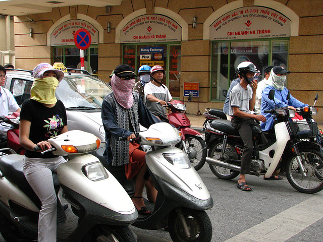 Some of many motorbikes in Hanoi