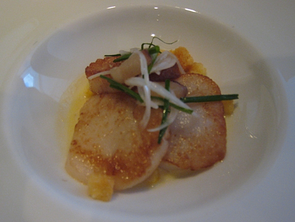 Diver Scallops with Creamed Corn, Quality Meats NYC
