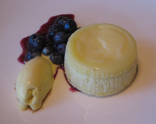 Lemon Steamed Pudding with Blueberries and Lemon Verbena Ice Cream, Riverpark NYC
