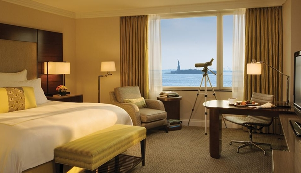 Kids will love using the telescope at the Ritz-Carlton Battery Park-Kid-Friendly New York Hotels
