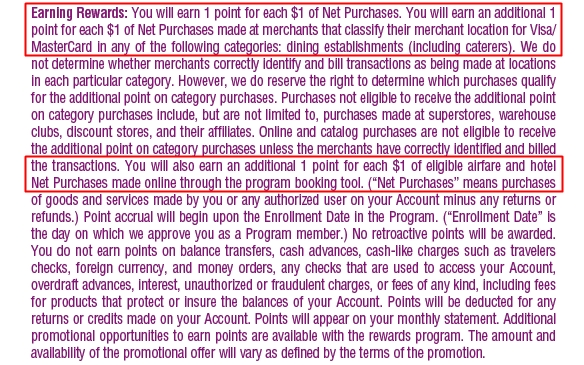 Chase Sapphire Detailed Terms for Earning 2 Points per Dollar