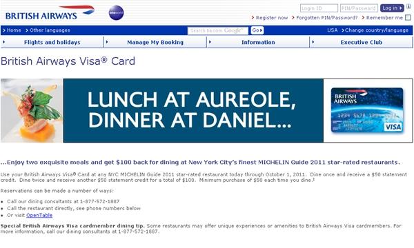 British Airways Visa NYC Michelin Restaurant Dining Promotion