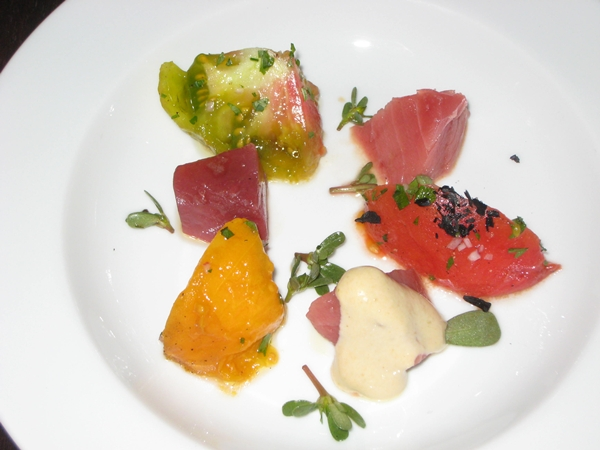 Tuna and Heirloom Tomatoes, Spring Restaurant Paris France
