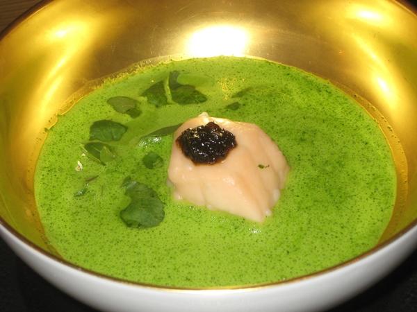 Watercress Wasabi Soup with Salmon and Algae, Le Cinq, Four Seasons Paris
