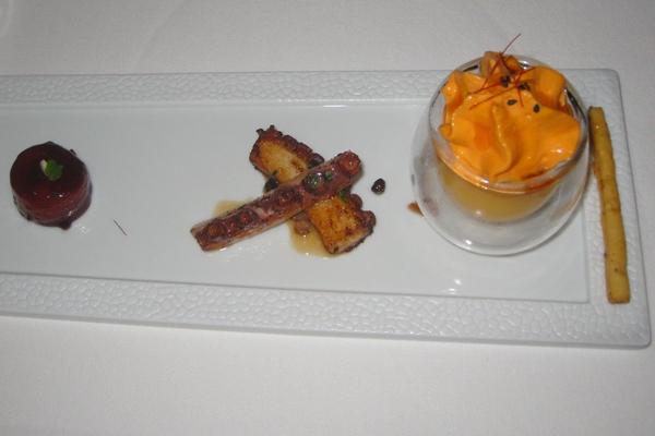 Scallop, Octopus, Melon Mousse with Seafood, Le Cinq, Four Seasons Paris