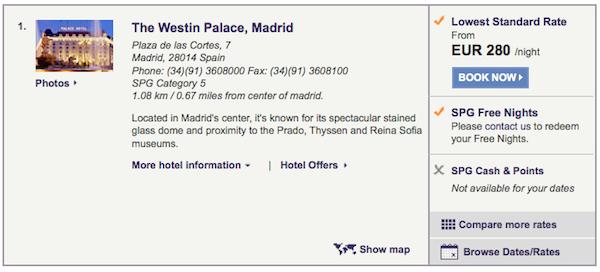 Starwood Preferred Guest-Westin Palace Madrid