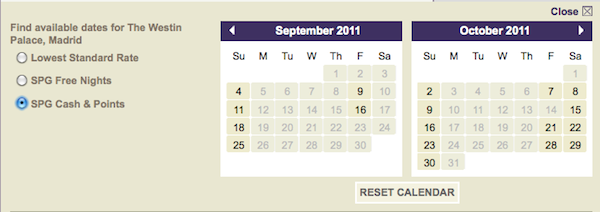 Starwood Preferred Guest Cash and Points Availability