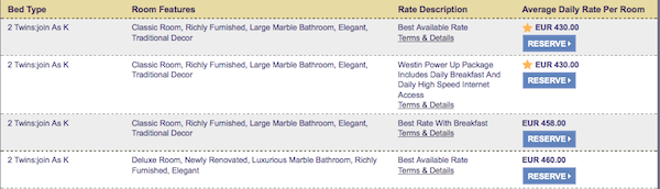 Starwood Preferred Guest Cheapest available room