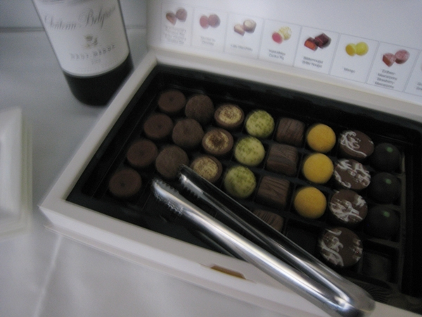 Help yourself to chocolates in Lufthansa First Class