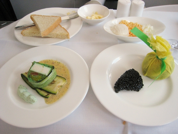 Caviar with traditional garnishes-Lufthansa First Class