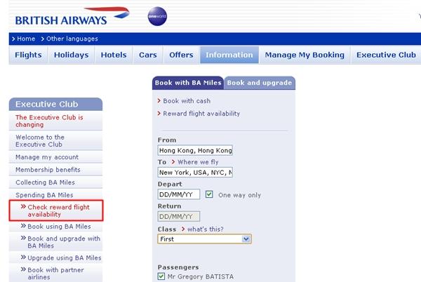 Check Reward Flight Availability-British Airways