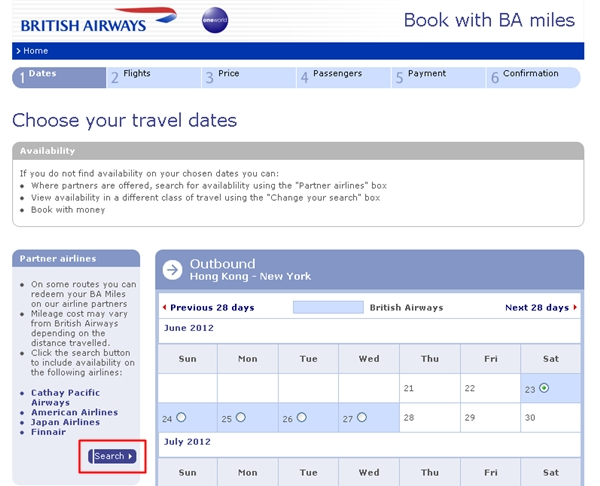 How to include Partners in British Airways Award Search