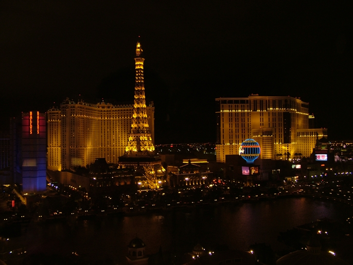 View of the strip from the Bellagio Hotel, Las Vegas