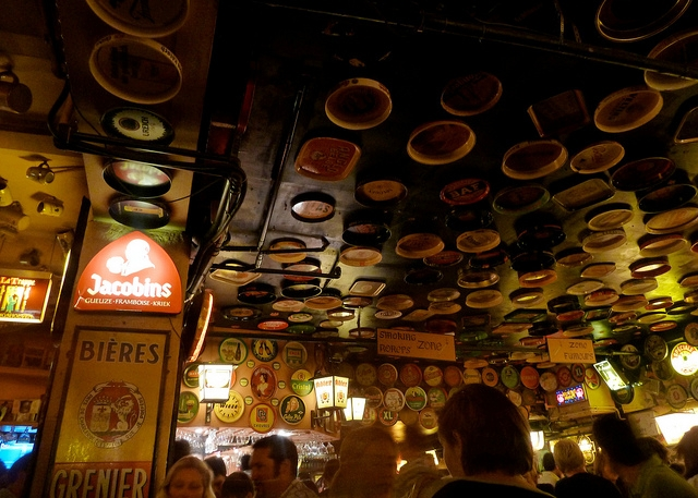 Beer Trays on the Ceiling at Delirium Cafe, Brussels