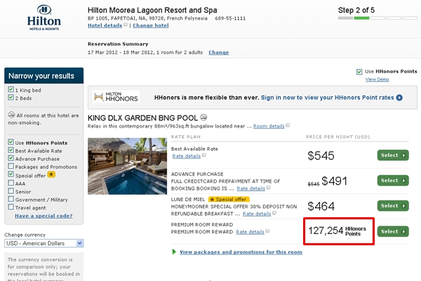 Hilton HHonors Point Devaluation with Premium Rewards