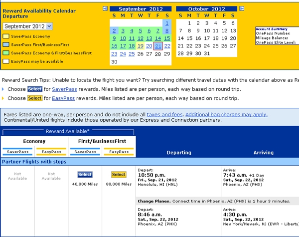 How to Book A Business Class Award Ticket to Hawaii-Continental HNL-EWR Availability