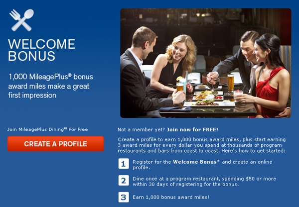 Frequent Flyer Dining Programs and Bonuses-1000 MileagePlus Miles