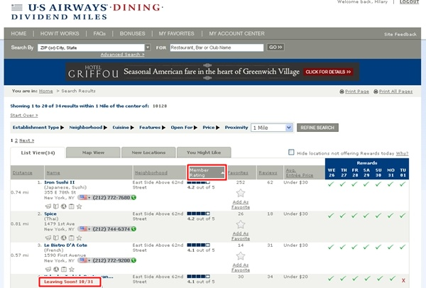 Frequent Flyer Dining Programs and Bonuses-US Airways Dividend Miles Dining