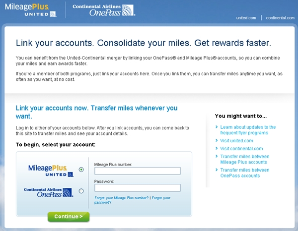How to Transfer Expiring United MileagePlus Miles to Continental-Login