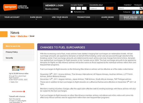 Aeroplan Devaluation-Fuel Surcharges on Star Alliance Partner Airlines