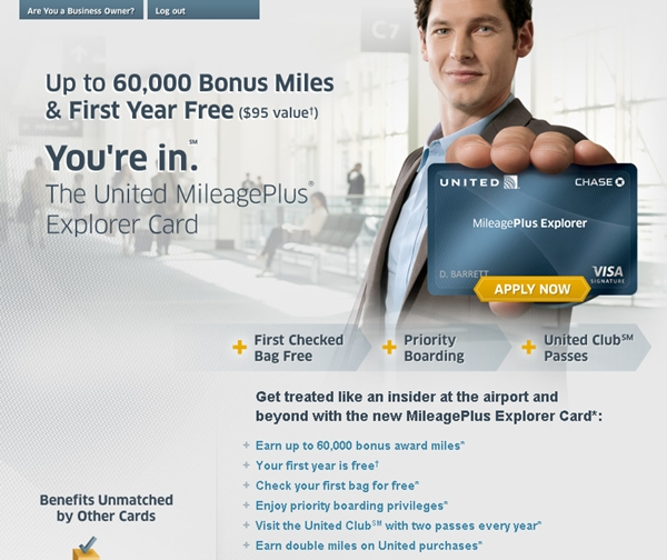 Get 60000 Miles with the United MileagePlus Explorer Card