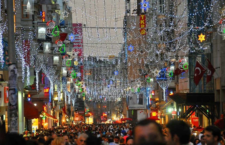 Holiday lights above Istiklal Street, Istanbul