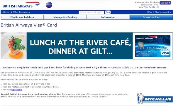 British Airways Visa Offers $100 Off 2 NYC Michelin Restaurants...Again