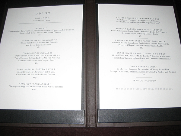 Per Se NYC Restaurant Review-Salon Menu