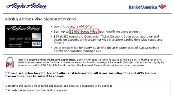 Alaska Airlines Visa 35 000 Mile Signup Bonus