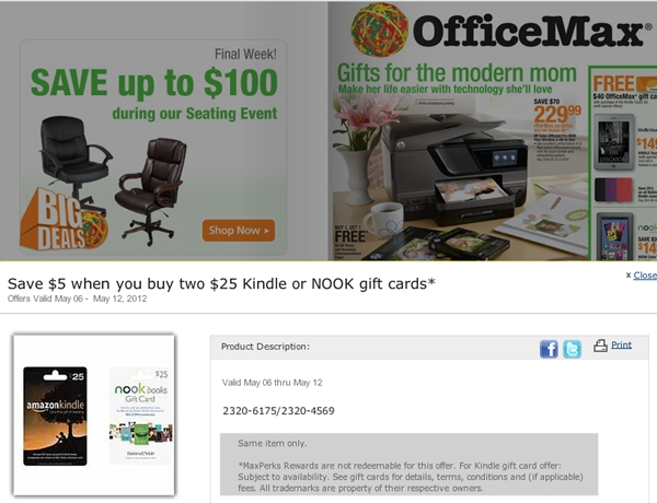 5x Points for All Amazon Spend and 10% Off Amazon Gift Cards at OfficeMax