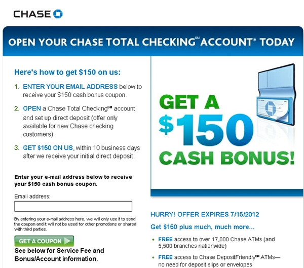Chase Freedom Rewards: Chase Checking Account $150 Bonus