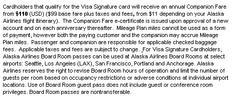 Alaska Visa Companion Ticket: No First Class from August 1